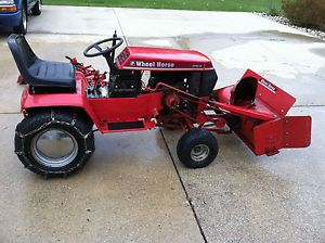 "Wheel Horse 312 8 Tractor with 42"" Snow Thrower and Tire Chains 36"" Mowing Deck"