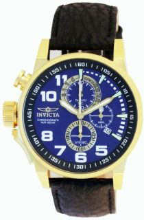 New Invicta 13055 Men's I Force Lefty Gold Tone Blue Dial Leather Strap Watch