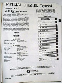 New Original Mopar 1971 Plymouth Chrysler Imperial Body Wiring Manual