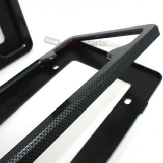 2 Black Carbon Fiber Custom License Plate Tag Snap Fit Frames for Auto Car Truck