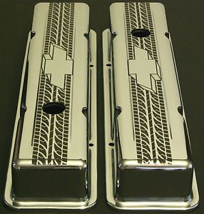 Chevy Tire Tread Custom Chrome Valve Covers SBC Small Block Chevrolet V8