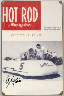 So Cal Streamliner Tin Sign Hot Rod Magazine 1949 Signed Alex Xydias Vtg Style