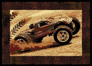 Monster Truck with Tire Track Border 5x8 Area Rug Carpet