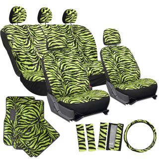 21pc Green Zebra Print Car Seat Covers Full Set Floor Mats Wheel Belt Pad Head