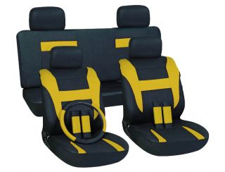 16pc Set Yellow Black Auto Car Seat Cover Free Steering Wheel Belt Pad Head Rest
