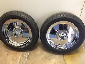 Harley Mirror Chrome Solid Disc Wheels Tires Front Rear Softail Fatboy 16""