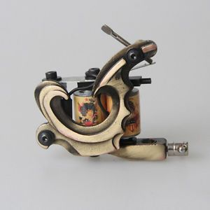 New Professional Bronze Frame 10 Wrap Coils Tattoo Machine Gun Supply for Shader