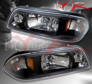 1987 1993 Ford Mustang LX GT Black Housing Amber Reflector Headlights Pair