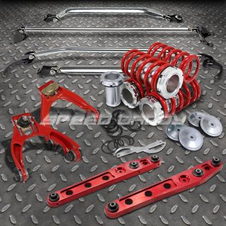 12pc Red Scale coilover Strut Bar Control Arm Front Camber Kit 96 00 Civic EM1