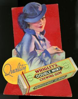 Vintage 1930s Pin Up Girl Wrigley's Double Mint Chewing Gum Die Cut Display Sign