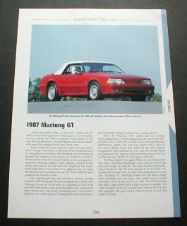 1987 Ford Mustang GT Convertible Photo Fact Spec Sheet