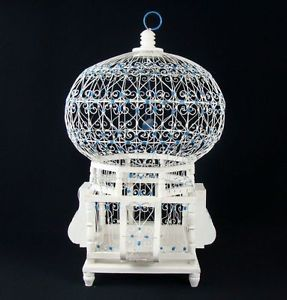 Antique Art Deco White Blue Metal Wire Ornamental Wood Footed Hanging Bird Cage