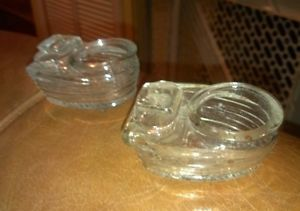 2 Bird Cage Feeders Art Deco Vintage Clear Glass Hendryx Made in U s A
