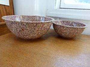 2 Vintage Brookpark Melamine Confetti Speckled Nesting Mixing Bowls Red Blues