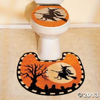 Halloween Haunted House Bath Shower Curtain Rug Pump Set Witch Black Cat Bat New