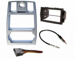 Aftermarket Double DIN Radio Stereo Installation Silver Bezel Dash Kit Complete