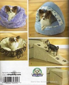 Simplicity 3906 Sewing Pattern Plush Cozy Dog Puppy Pet Bed Sack Ramp Bag