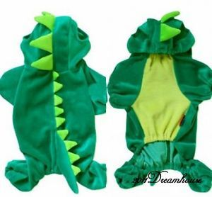 New Lovely Pet Dinosaur Costume Green Dog Clothes Jumpsuit Cotton Velure AH1999