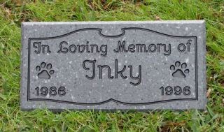 Custom Engraved Pet Memorial Headstone Cat Dog Pet Grave Stone Garden Marker