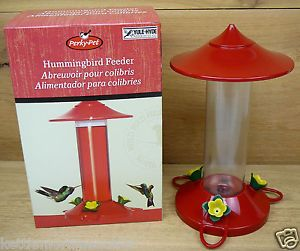Perky Pet Red Roof Plastic Hummingbird Feeder with Perches 16oz 3 Ports 205