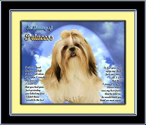 Pet Memorial Shih Tzu Personalized with Dog's Name Heaven Poem Unique Gift