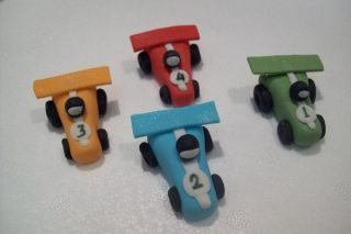 12 Race Car Cupcake Toppers Edible Cake Decorations