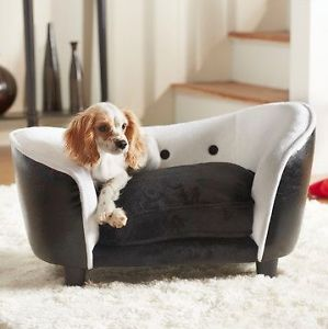 """Ultra Plush Snuggle Dog Cat Bed ""Black White Luxury Chair for Pet"