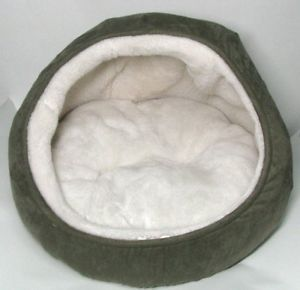 "JLA Pets 17"" Hooded Snuggler Cat Bed w Reversible Removable Cushion Sage Color"