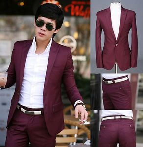 Men Premium Slim Fit One Button Dress Casual Stylish Suit Top Pants Burgundy