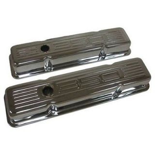 SB Chevy 350 Chrome Valve Covers Stock Height Pair Embossed Logo