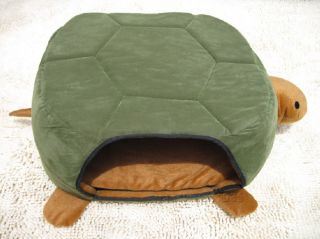 Pretty Green Turtle Shape Pet Cat Dog Bed House Cushion Mat 2 Uses Medium
