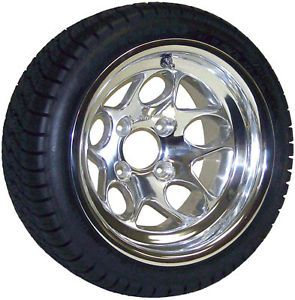 Non Lifted Golf Cart 205x30 12 Tires w 12x7 Polished Aluminum Buckshot Wheels