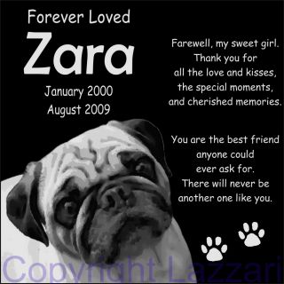 "Personalized Pug Pet Dog Memorial 12""x12"" Custom Engraved Granite Grave Marker"