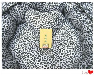 Handmade Leopard Print Pet Dog Cat Pet Bed House with Ruffles 100 PP Cotton