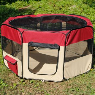 Maroon Portable Puppy Pet Dog Soft Tent Playpen Excercise Folding Crate Pen