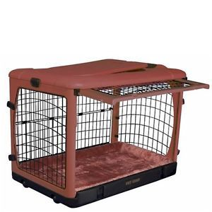 Pet Gear Deluxe Steel Dog Crate with Bolster Pad in Brick Color Large