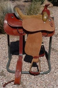 "Jim Sands 15 5"" Roping Saddle Barbwire Rawhide Cantle Nice"