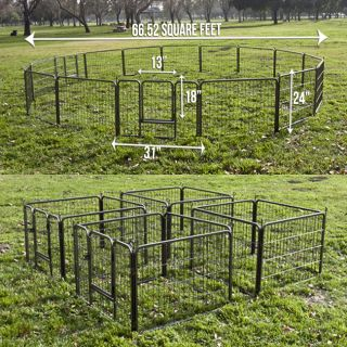 2 x 8 Panel Heavy Duty Cage Pet Dog Cat Fence Exercise Metal Play Pen Kennel