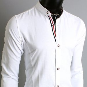 Youlookcool Mens Casual Slim Fit Collarless Banded Collar Oxford Dress Shirts