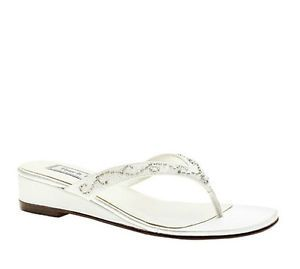 Womens White Satin Sequin Bead Detail Flip Flops Low Heel Casual Sandals Shoes