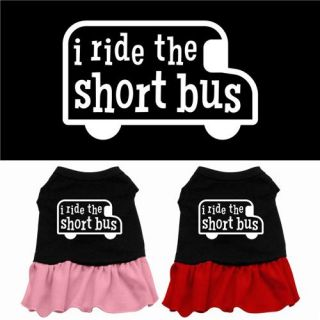 Dog Pet Puppy I Ride The Short Bus Princess Dress Clothes Costume Apparel Skirt