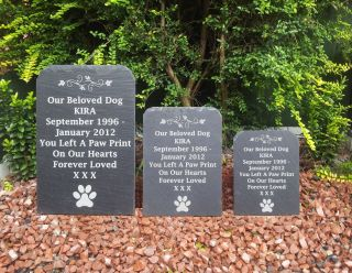 Natural Slate Pet Dog Memorial Grave Marker Headstone 3 Sizes Available