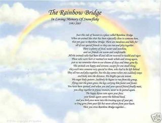 Dog Cat Pet Loss Memorial Poem Print Rainbow Bridge