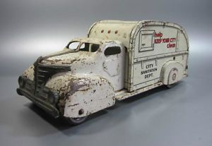 "Vintage Marx Toys 1940's Toy City Sanitation Truck Pressed Steel 13"" Inches"