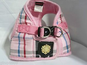 Puppia Luxury Designer Small Dog Harness Pink Plaid 10 5 in Neck Med 16 5 Chest