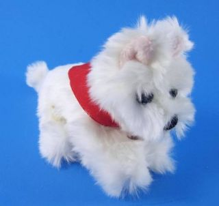 "Build A Bear Westie Terrier Puppy Dog 6"" Stuffed Plush Animal w Red Bandana"