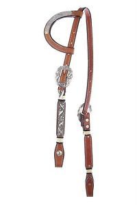 Western Horse Leather One Ear Show Headstall Bridle Silver Rawhide Accents