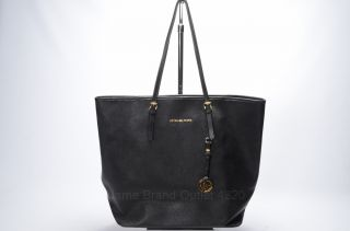 Michael Kors Black Leather Jet Set Travel Signature MK Logo Tote Purse Bag $298