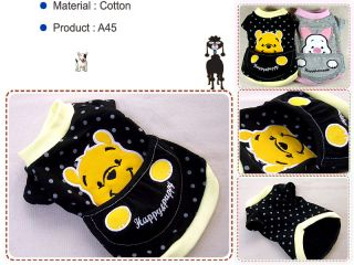 Small Dog Clothes Pooh Pocket Apparel Round Shirts A45