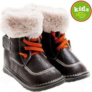 Girls Boys Toddler Childrens Leather Squeaky Boots Brown with Fleecy Inners